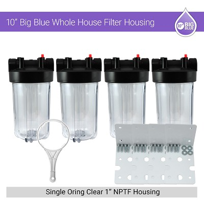 "4 x 10"" BB Whole House 1"" NPTF Single Oring Clear Housing W/ Bracket & Wrench"