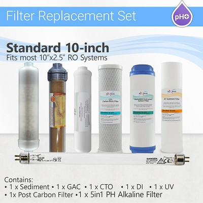 12 Stage RO System replacement Filter Set 5 in 1 Alkaline DI and 2 Pins UV Bulb