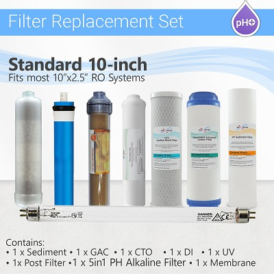 12 Stage RO System replacement Filter Set 5 in 1 Alkaline DI, 4 Pins UV Bulb + Membrane