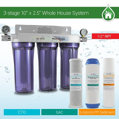 "3 Stage 10"" Standard Whole House Water Filtration System w/ 2 Pressure Gauges 1/2 NPT  -SED GAC CTO"