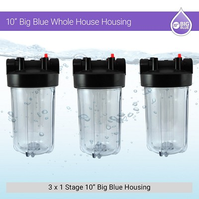 "10"" Big Blue 3 Clear Whole House Filter Housing W/ Pressure Release & Gauge Hole"