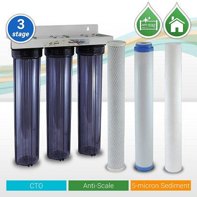 "3-Stage 20"" x 2.5"" Whole House Slim Blue Phosphate Anti-Scale Water Filter 3/4"" NPTF Ports"