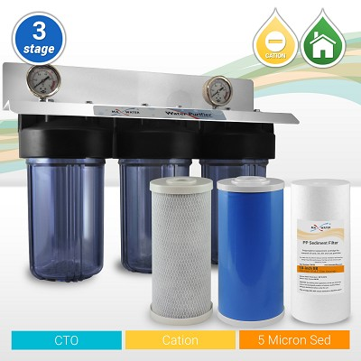 "3-Stage 10""x4.5  Softening Softener Whole House Big Blue Water Filtration System with Clear Housings + 2 Gauges - ¾"" or 1"" NPT Ports"