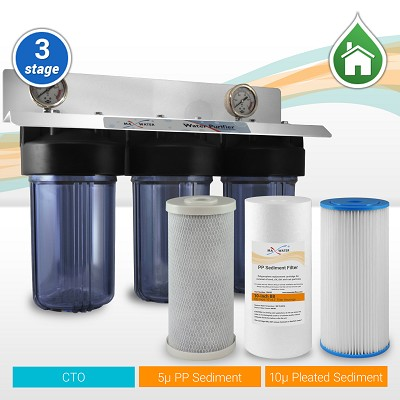 "Whole House Water Filter 3 Stages 10"" Big Blue with All Clear Housing"