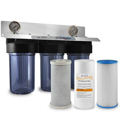 "Lake, Well & Cottage Whole House Water Filter 3 Stages 10"" Big Blue with All Clear Housing"