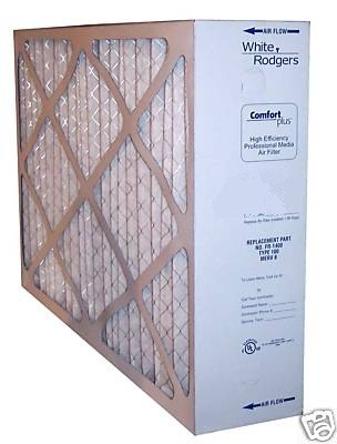 "White-Rodgers FR1600 Type 100 Pleated Media Filter, MERV 8, measures 20"" x 21"" x 5""."