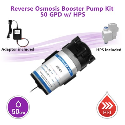 Reverse Osmosis Booster Pump Kit 50 GPD w/ High Pressure Switch