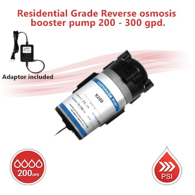 Residential Grade Reverse osmosis booster pump  200 - 300 gpd.