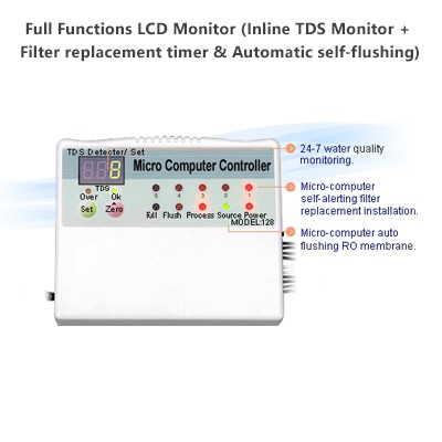 Full Functions LCD Monitor (Inline TDS Monitor + Filter replacement timer & Automatic self-flushing)