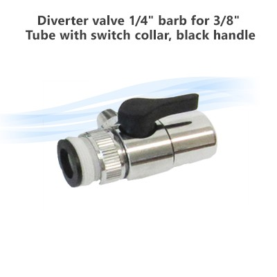 "Diverter valve 1/4"" barb for 3/8"" Tube with switch collar, black handle"