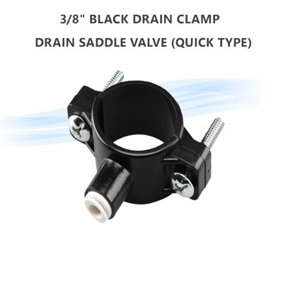 "3/8""  Black Drain Clamp / Drain Saddle Valve (quick type)"
