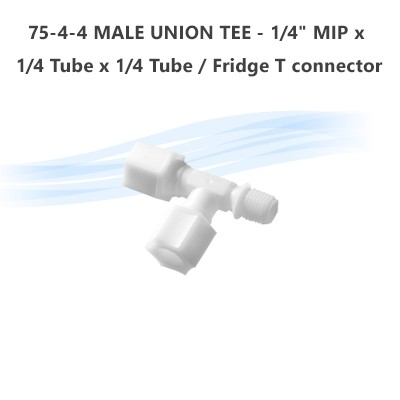"75-4-4 MALE UNION TEE - 1/4"" MIP x 1/4 Tube x 1/4 Tube  / Fridge T connector"