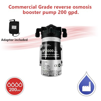 Commercial Grade reverse osmosis booster pump  200 gpd.