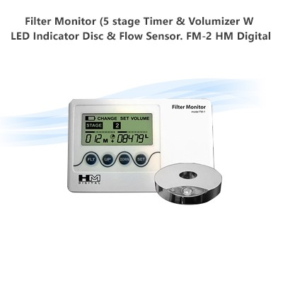 Filter Monitor (5 stage Timer & Volumizer W / LED Indicator Disc & Flow Sensor.  FM-2 HM Digital