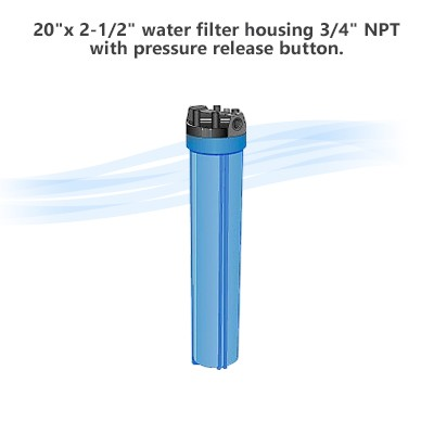 "20""x 2-1/2"" water filter housing 3/4"" NPT, with pressure release button."